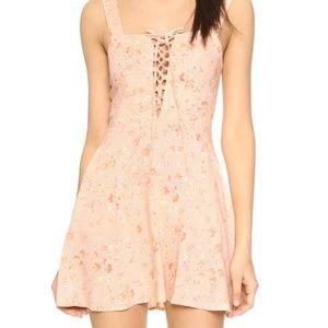 Flynn Skye Leila Lace-Up Mini Dress in Light Pink